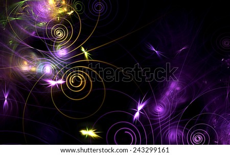 Fireflies at night. Abstract artistic glowing background for creativity design. Fine decoration of a desktop, interior, album cover, booklet, flyer, wallpaper. Fractal art - stock photo