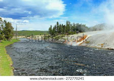 Firehole river in Yellowstone, Wyoming, USA. - stock photo