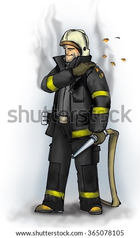Fireman after work shakes off the dirt from his uniform.