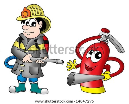 Fireman and fire extinguisher - color illustration. - stock photo