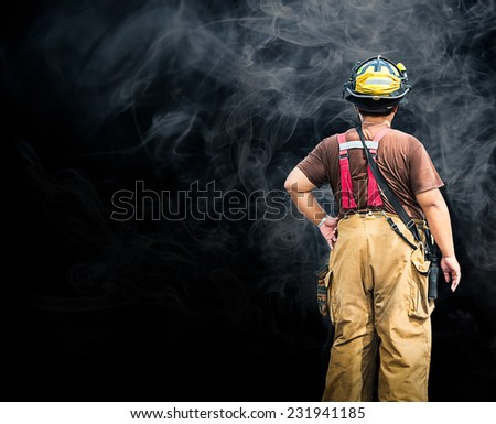 Fireman and rescue standing in smoke background