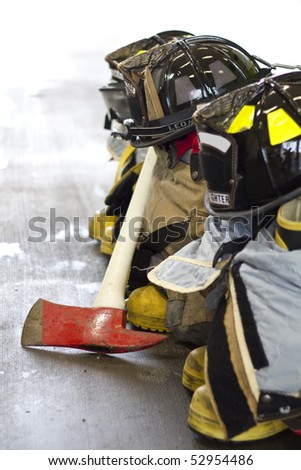 fireman equipment and tools - stock photo