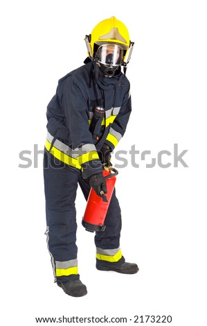 fireman extinguishing the fire with white bottom - stock photo