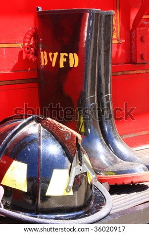 Fireman Hat And Boots - stock photo