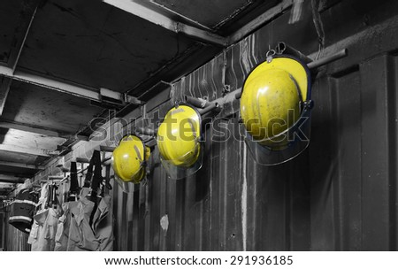 Fireman Hat in firefighters room  - stock photo