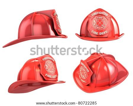 fireman helmet from various angles 3d illustration - stock photo