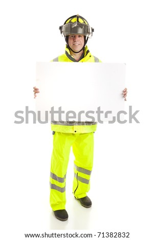 Fireman holding a blank white sign.  Full body isolated on white. - stock photo