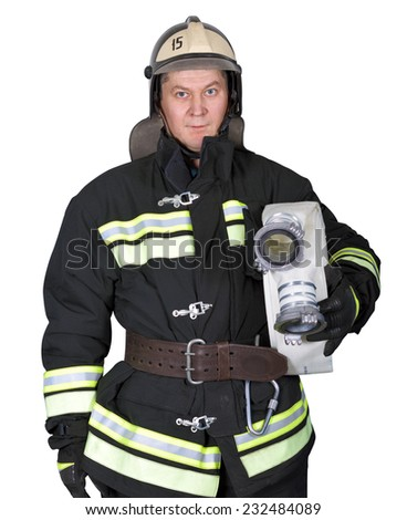 Fireman holding a fire hose on a white background - stock photo