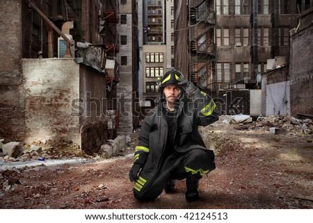 fireman in a city street - stock photo