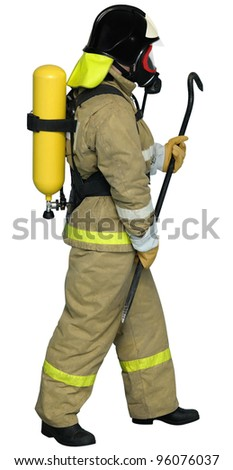 Fireman in a self contained breathing apparatus with a crowbar in his hand - stock photo