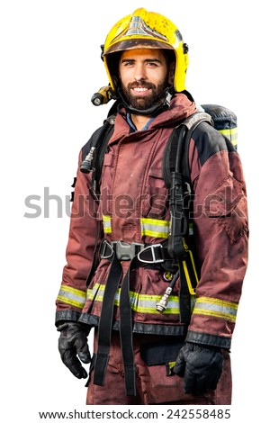 Fireman in fire fighting gear isolated on white background. - stock photo