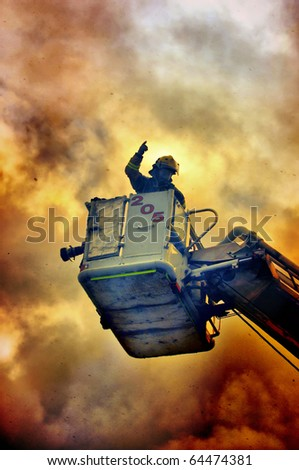 Fireman in the fire - stock photo