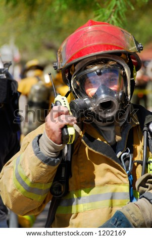 Fireman on the radio - stock photo