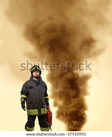 fireman portrait - stock photo
