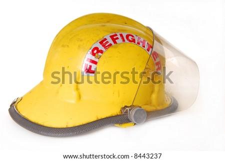 Fireman's helmet showing wear - stock photo
