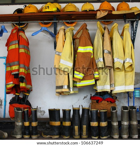 fireman suit - stock photo
