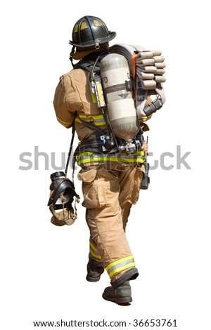 Fireman Walking with a Fire Hose and Mask - stock photo