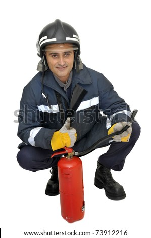 Fireman with extinguisher isolated in white