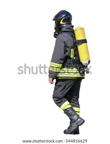 Fireman with oxygen tank to breathe during fires ON WHITE