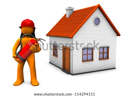 Fireman with red helmet and extinguisher and with house on the white background. - stock photo