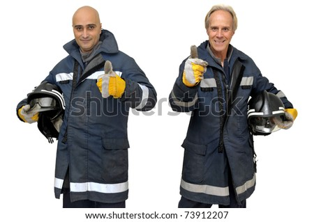 Firemen team in uniform isolated in white