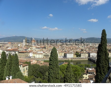 FIRENZE (FLORENCE), ITALY - SEPTEMBER 28, 2016: Aerial view of Firenze (Florence), in Toscana (Tuscany), Central Italy, and the Arno river from the panoramic terrace of Villa Bardini.