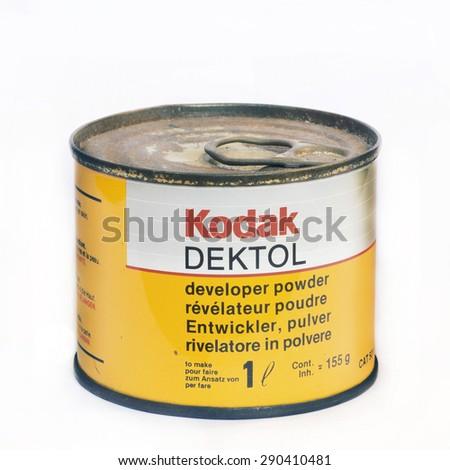 Firenze, IT - March 20, 2015: Vintage Kodak Dektol developer powder for print. - stock photo