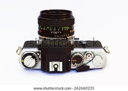 Firenze, IT - March 20, 2015: Vintage Minolta XE-5 reflex film camera, 1971 - stock photo