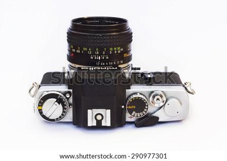 Firenze, IT - March 20, 2015: Vintage Minolta XE-5 reflex film camera, 1971. - stock photo