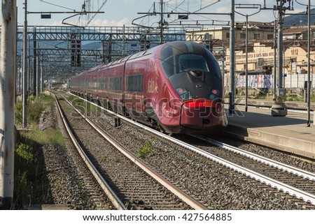 FIRENZE- ITALY: MAY, 5 2016: ntv Italo high Speed Train is Passing from the Station of Firenze Rifredi