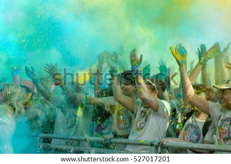 FIRENZE, ITALYA - JUNE 04: Crowds of unidentified people at The Color Run on June 04, 2016 in Firenze, Italy. The Color Run is a worldwide hosted fun race with about 1500 competitors in Firenze.