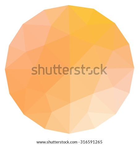 fireopal topaz round gem isolated on white background. Orange polygonal sphere with gradient color low poly triangles.