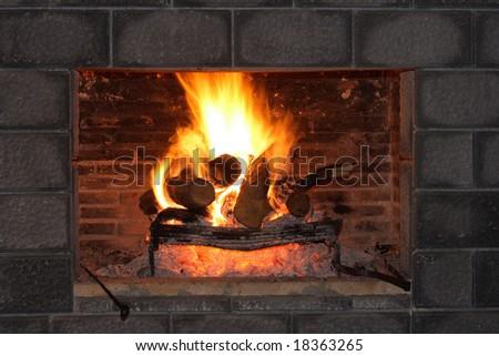 Fireplace and Bricks - stock photo