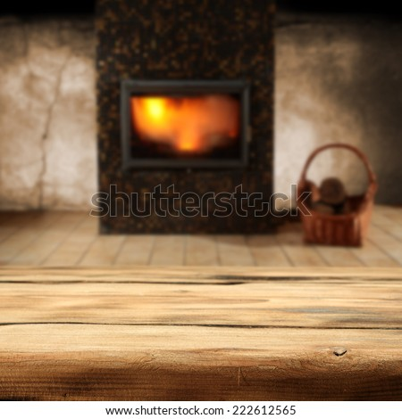 fireplace and desk  - stock photo