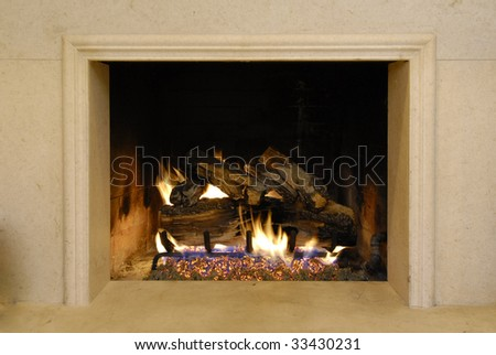 Fireplace and Fire - stock photo