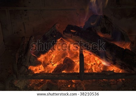 Fireplace and glowing embers