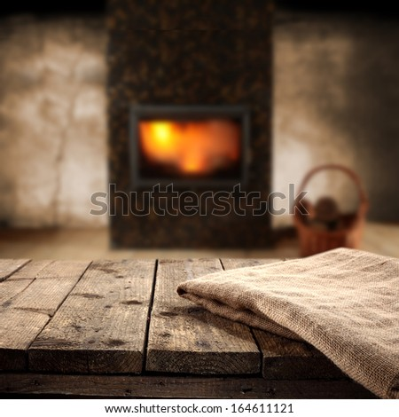 fireplace and napkin