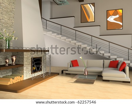 Fireplace and sofa in a drawing room against a ladder - stock photo
