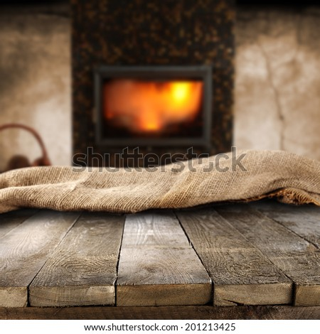 fireplace and wooden table