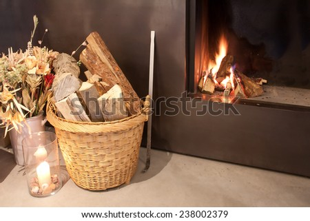 Fireplace at home - stock photo