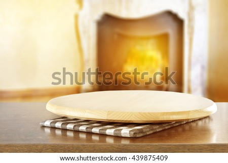fireplace background and board of free place  - stock photo