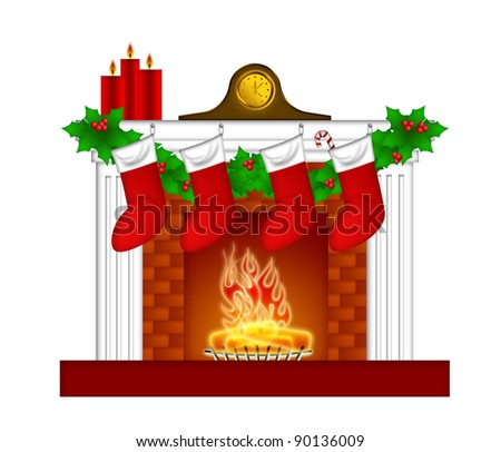 Fireplace Christmas Decoration with Garland Stocking Pillar Candles and Mantel Clock Illustration - stock photo