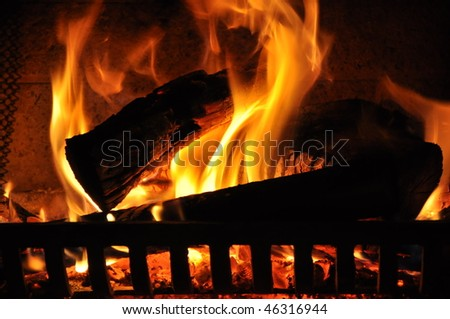 Fireplace closeup - stock photo