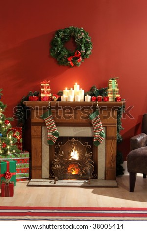 Fireplace decorated for Christmas - stock photo