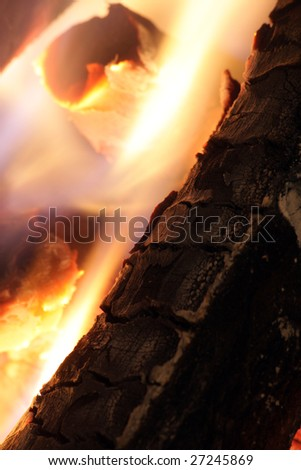 Fireplace detail in Winter - stock photo