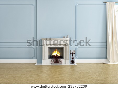 fireplace in an empty apartment with a wooden floor. - stock photo