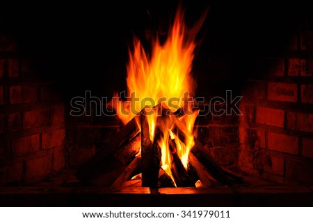 Fireplace in home, In winter season - stock photo