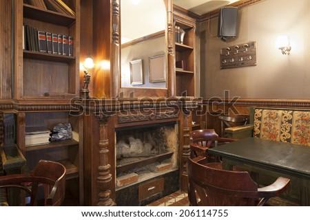 Fireplace in Irish pub - stock photo