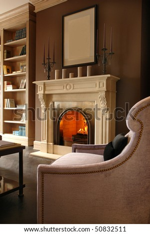 fireplace in living room - stock photo