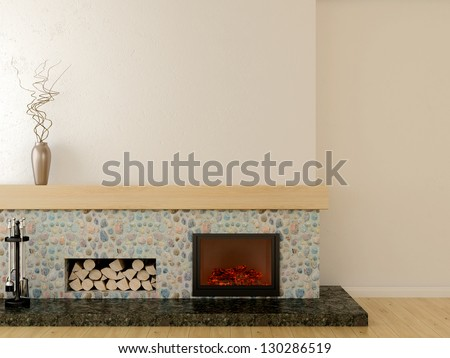 Fireplace in modern style, located on a marble pedestal, lined with stone and wooden mantel - stock photo
